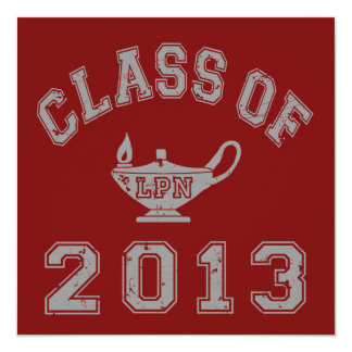 Class of 2013 LPN - Grey 2 13 Cm X 13 Cm Square Invitation Card