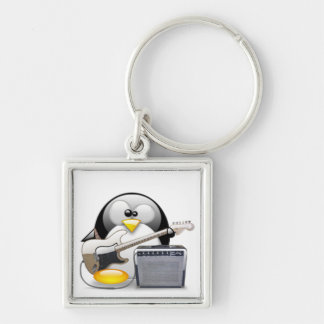 Classic American Guitar and Amplifier Tux Silver-Colored Square Key Ring