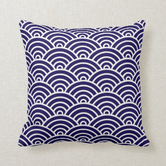 Classic Art Deco Scales in Cobalt and White Cushion
