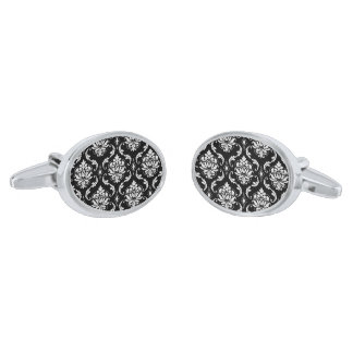 Classic Black and White Floral Damask Pattern Silver Finish Cuff Links