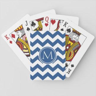 Classic Blue Chevron Monogrammed Card Deck