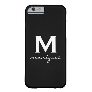 Classic Monogram and Initial Black and White Barely There iPhone 6 Case