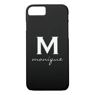 Classic Monogram and Initial Black and White iPhone 7 Case