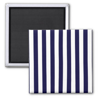Classic Navy Blue and White Stripe Pattern Square Magnet