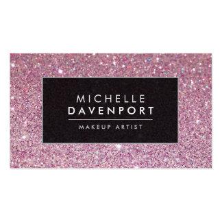 Classic Pink Glitter Makeup Artist Business Card