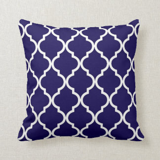 Classic Quatrefoil Pattern Cobalt Blue and White Cushions