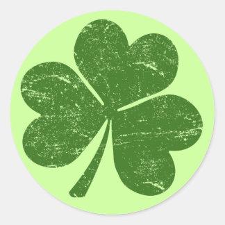 Classic St Paddys Shamrock Round Sticker