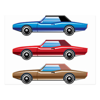 Classic style old vehicle vector clip-art postcard