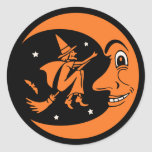 Classic Vintage Halloween Moon and Witch Round Sticker