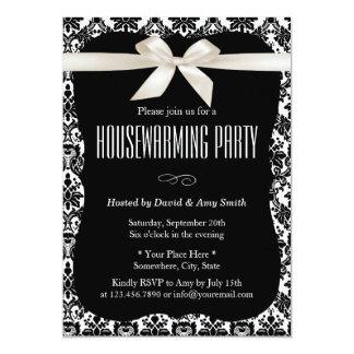 Classy Black & White Damask Housewarming Party 13 Cm X 18 Cm Invitation Card