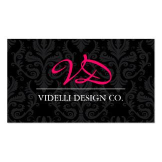 Classy Monogram Damask Business Card