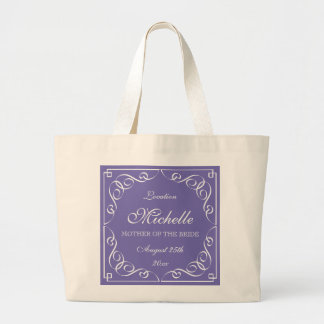 Classy purple mother of the bride wedding tote bag