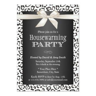 Classy Snow Leopard Print Housewarming Party 13 Cm X 18 Cm Invitation Card