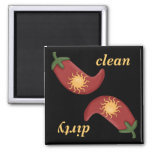 Clean or Dirty Chilli Peppers Dishwasher Magnet