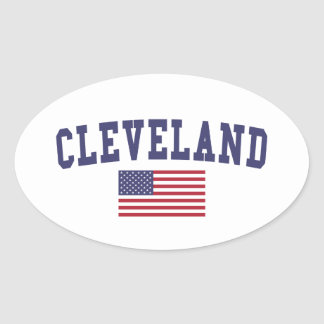 Cleveland TN US Flag Oval Sticker