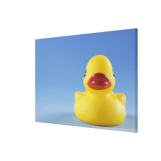 Close-up of a rubber duck stretched canvas print