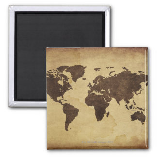 Close up of antique world map 3 square magnet