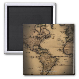 Close up of antique world map square magnet