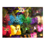 Close-up of colourful miniature masks in a New Postcard
