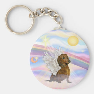 Clouds - Brown/Red Dachshund Angel Basic Round Button Key Ring