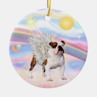Clouds - English Bulldog (brown-white) Round Ceramic Decoration
