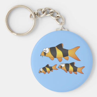 Clown loach family basic round button key ring