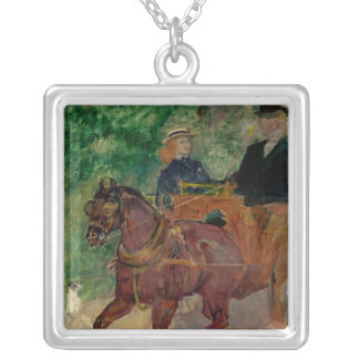 Cob Harnessed to a Cart, 1900 Square Pendant Necklace