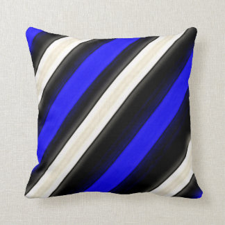 Cobalt Blue, Black and White Diagonal Stripes Throw Cushion
