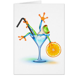 Cocktail Frog Greeting Card