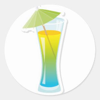 Cocktail with umbrella round sticker