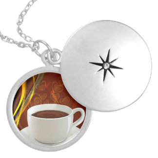 Coffee Art Cafe Round Locket Necklace