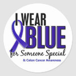 Colon Cancer I Wear Blue For Someone Special 10 Round Sticker