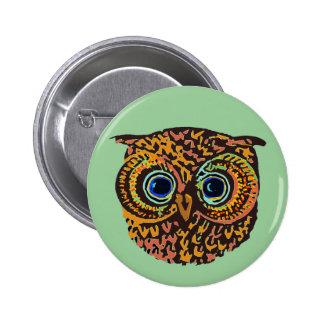 color owl 6 cm round badge