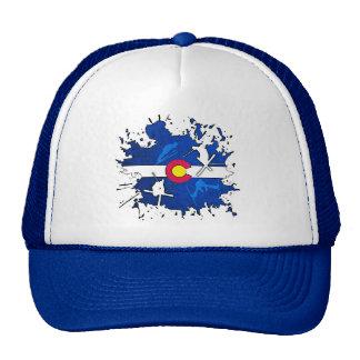 Colorado flag ski splatter trucker hat