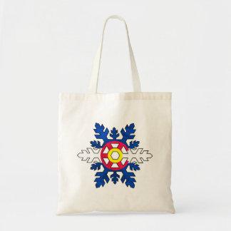 Colorado flag snowflake reusable tote bag