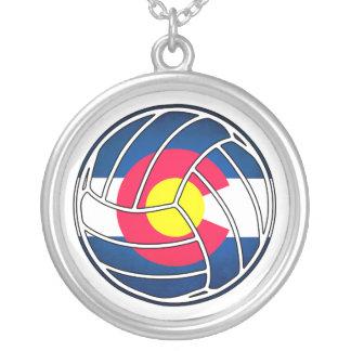 Colorado flag volleyball round silver necklace