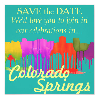 COLORADO SPRINGS SKYLINE PUDDLES - 13 CM X 13 CM SQUARE INVITATION CARD