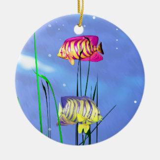 Colorful 3d Angelfish Round Ceramic Decoration
