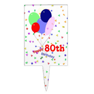 Colorful 80th Birthday Balloons Cake Topper