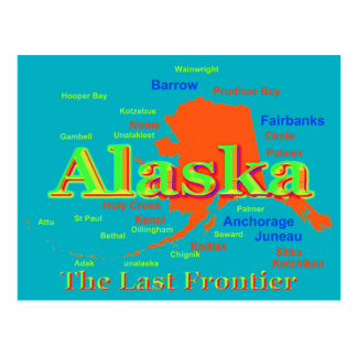 Colorful Alaska State Pride Map Silhouette Postcard