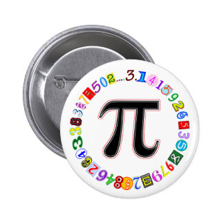 Colorful and Fun Circle of Pi Calculated 6 Cm Round Badge