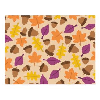 Colorful autumn pattern postcard