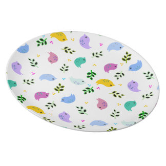 Colorful Birds Cheerful Plate