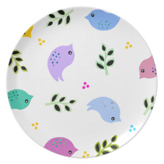 Colorful Birds Large Print Plate