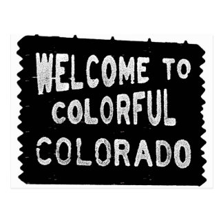Colorful Colorado black welcome sign Postcard