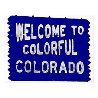 Colorful Colorado blue welcome sign Postcard