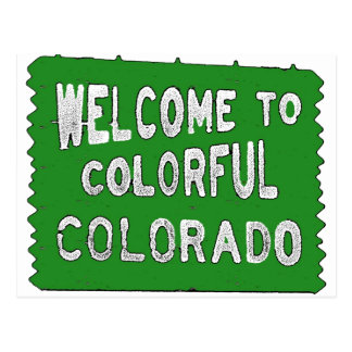 Colorful Colorado green welcome sign Postcard