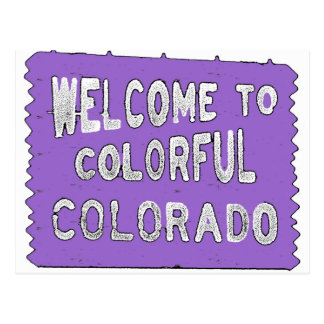 Colorful Colorado purple welcome sign Postcard