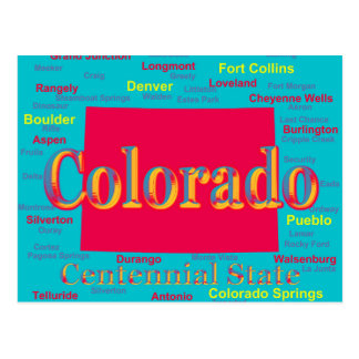 Colorful Colorado State Pride Map Silhouette Postcard