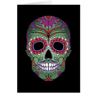 Colorful Day of the Dead Grunge Sugar Skull Greeting Card